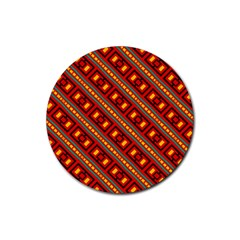Distorted Stripes And Rectangles Pattern      			rubber Round Coaster (4 Pack) by LalyLauraFLM