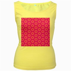 Pink Snowflakes Spinning In Winter Women s Yellow Tank Top by DianeClancy