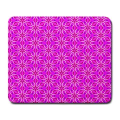Pink Snowflakes Spinning In Winter Large Mousepads by DianeClancy