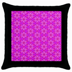 Pink Snowflakes Spinning In Winter Throw Pillow Case (black) by DianeClancy