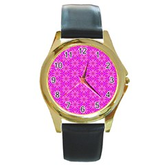 Pink Snowflakes Spinning In Winter Round Gold Metal Watch by DianeClancy