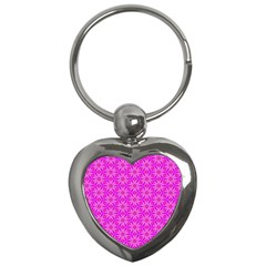 Pink Snowflakes Spinning In Winter Key Chains (heart)  by DianeClancy