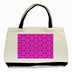 Pink Snowflakes Spinning In Winter Basic Tote Bag by DianeClancy