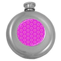 Pink Snowflakes Spinning In Winter Round Hip Flask (5 Oz) by DianeClancy