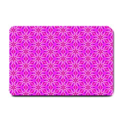Pink Snowflakes Spinning In Winter Small Doormat  by DianeClancy