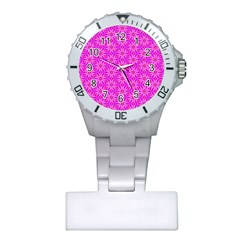 Pink Snowflakes Spinning In Winter Plastic Nurses Watch by DianeClancy