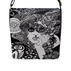 Vintage Smoking Woman Medium Flap Closure Messenger Bag (l) by DryInk