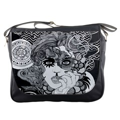Vintage Smoking Woman X Large Messenger Bag by DryInk