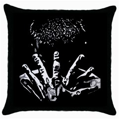 Strong Hands Black Throw Pillow Case by DryInk