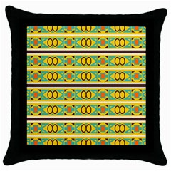 Circles And Stripes Pattern       			throw Pillow Case (black) by LalyLauraFLM