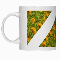 Indian Floral Pattern Stripes White Mugs