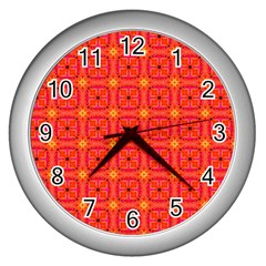 Peach Apricot Cinnamon Nutmeg Kitchen Modern Abstract Wall Clocks (silver)  by DianeClancy
