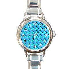 Vibrant Modern Abstract Lattice Aqua Blue Quilt Round Italian Charm Watch