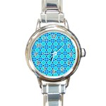 Vibrant Modern Abstract Lattice Aqua Blue Quilt Round Italian Charm Watch Front