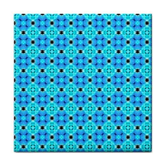 Vibrant Modern Abstract Lattice Aqua Blue Quilt Tile Coasters by DianeClancy