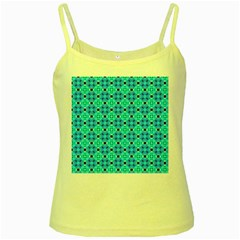 Vibrant Modern Abstract Lattice Aqua Blue Quilt Yellow Spaghetti Tank by DianeClancy
