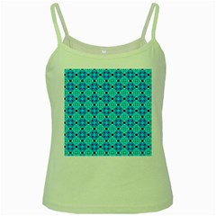 Vibrant Modern Abstract Lattice Aqua Blue Quilt Green Spaghetti Tank by DianeClancy