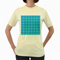 Vibrant Modern Abstract Lattice Aqua Blue Quilt Women s Yellow T Shirt by DianeClancy