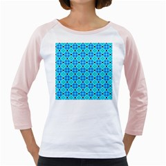 Vibrant Modern Abstract Lattice Aqua Blue Quilt Girly Raglans by DianeClancy