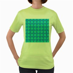 Vibrant Modern Abstract Lattice Aqua Blue Quilt Women s Green T-shirt by DianeClancy