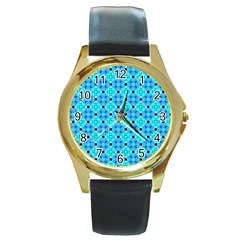 Vibrant Modern Abstract Lattice Aqua Blue Quilt Round Gold Metal Watch by DianeClancy