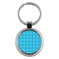 Vibrant Modern Abstract Lattice Aqua Blue Quilt Key Chains (round)  by DianeClancy