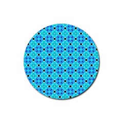 Vibrant Modern Abstract Lattice Aqua Blue Quilt Rubber Round Coaster (4 Pack)  by DianeClancy