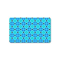 Vibrant Modern Abstract Lattice Aqua Blue Quilt Magnet (name Card) by DianeClancy