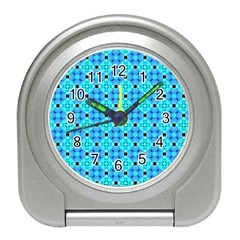 Vibrant Modern Abstract Lattice Aqua Blue Quilt Travel Alarm Clocks by DianeClancy