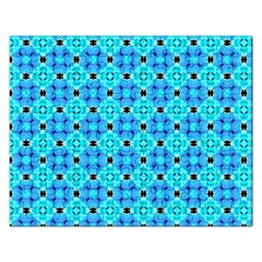 Vibrant Modern Abstract Lattice Aqua Blue Quilt Rectangular Jigsaw Puzzl by DianeClancy