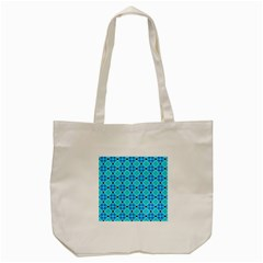 Vibrant Modern Abstract Lattice Aqua Blue Quilt Tote Bag (cream) by DianeClancy