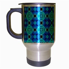 Vibrant Modern Abstract Lattice Aqua Blue Quilt Travel Mug (silver Gray) by DianeClancy