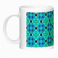Vibrant Modern Abstract Lattice Aqua Blue Quilt Night Luminous Mugs by DianeClancy