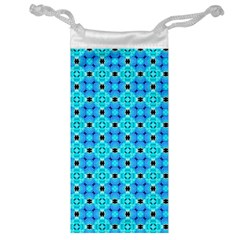 Vibrant Modern Abstract Lattice Aqua Blue Quilt Jewelry Bags by DianeClancy