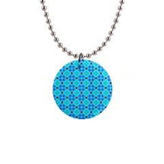 Vibrant Modern Abstract Lattice Aqua Blue Quilt Button Necklaces by DianeClancy