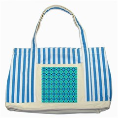 Vibrant Modern Abstract Lattice Aqua Blue Quilt Striped Blue Tote Bag by DianeClancy