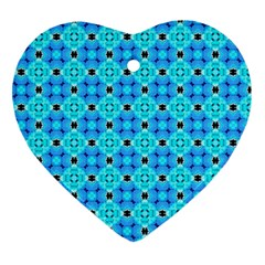 Vibrant Modern Abstract Lattice Aqua Blue Quilt Heart Ornament (2 Sides) by DianeClancy