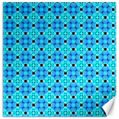 Vibrant Modern Abstract Lattice Aqua Blue Quilt Canvas 12  X 12   by DianeClancy