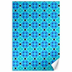 Vibrant Modern Abstract Lattice Aqua Blue Quilt Canvas 12  X 18   by DianeClancy