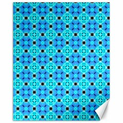 Vibrant Modern Abstract Lattice Aqua Blue Quilt Canvas 16  X 20   by DianeClancy