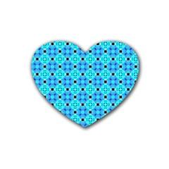 Vibrant Modern Abstract Lattice Aqua Blue Quilt Rubber Coaster (heart)  by DianeClancy
