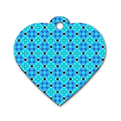 Vibrant Modern Abstract Lattice Aqua Blue Quilt Dog Tag Heart (two Sides)