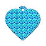 Vibrant Modern Abstract Lattice Aqua Blue Quilt Dog Tag Heart (Two Sides) Back