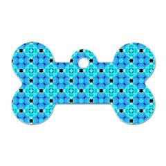 Vibrant Modern Abstract Lattice Aqua Blue Quilt Dog Tag Bone (two Sides) by DianeClancy