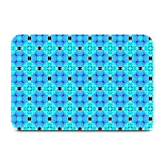Vibrant Modern Abstract Lattice Aqua Blue Quilt Plate Mats by DianeClancy