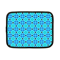 Vibrant Modern Abstract Lattice Aqua Blue Quilt Netbook Case (small)  by DianeClancy