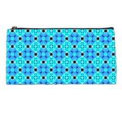 Vibrant Modern Abstract Lattice Aqua Blue Quilt Pencil Cases by DianeClancy