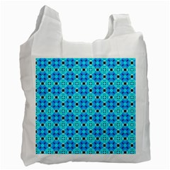 Vibrant Modern Abstract Lattice Aqua Blue Quilt Recycle Bag (two Side)  by DianeClancy
