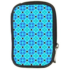 Vibrant Modern Abstract Lattice Aqua Blue Quilt Compact Camera Cases by DianeClancy