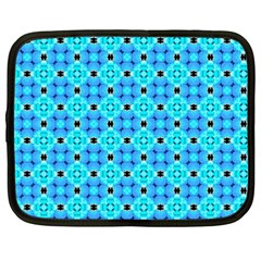 Vibrant Modern Abstract Lattice Aqua Blue Quilt Netbook Case (xxl)  by DianeClancy